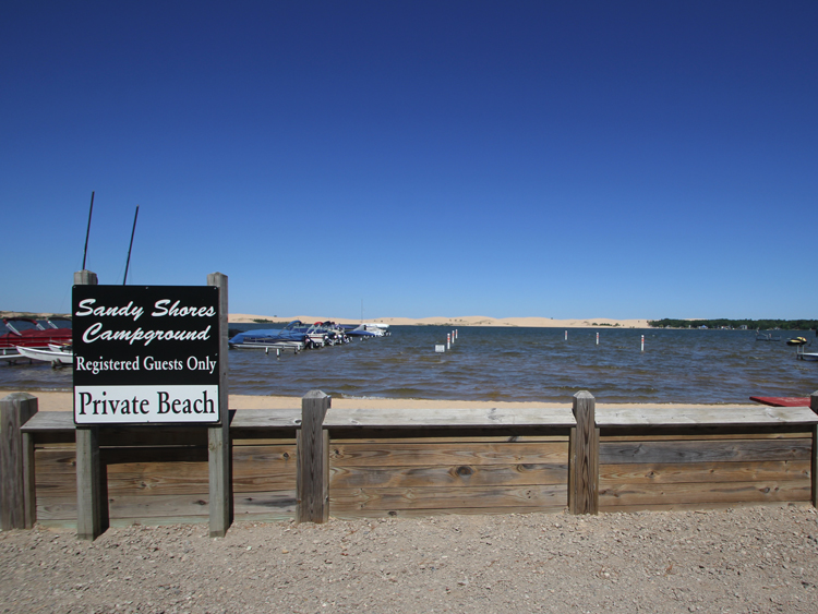 Sandy Shores Campground has it's own private beach along beautiful Silver Lake. Just a short walk away.