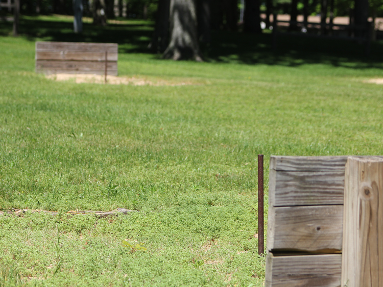Adults can enjoy the horseshoe pits while their children play nearby. Horseshoes are available at the office.
